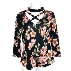 Floral Stappy Half Sleeve Knit Top Anthro